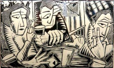 Three figures in pub