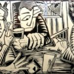 NEIL BOUSFIELD Engravings Three figures in pub