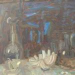 OLIVER SOSKICE Paintings Shell with two decanters