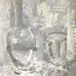 OLIVER SOSKICE Paintings Silver flask old wine glass
